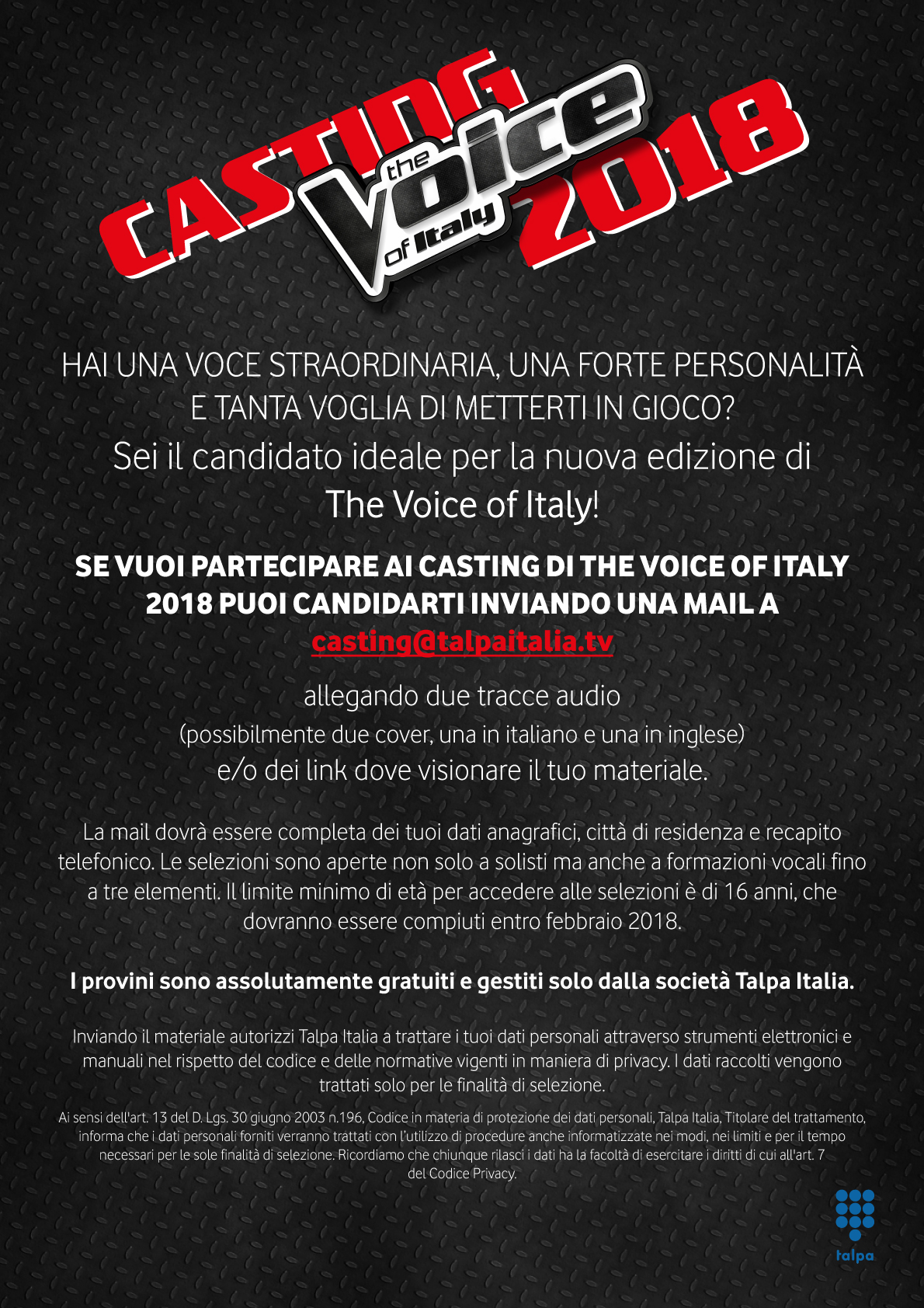 CASTING THE VOICE OF ITALY